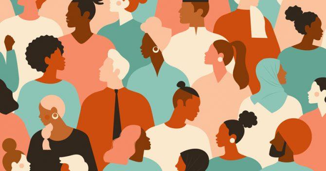 cartoon showing a diverse crowd