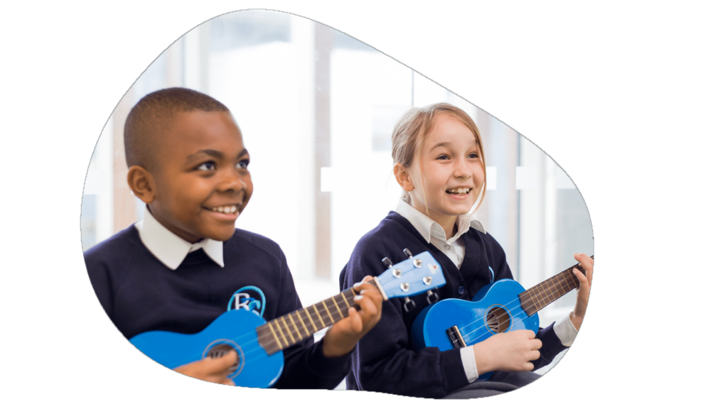 a girl and a boy are learning to play the ukulele